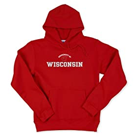 Wisconsin Badgers Women's Hooded Pullover Sweatshirt (Large, Red)