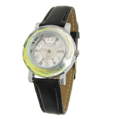 Girls Black Faux Leather Band Round Dial Quartz Watch front-872111