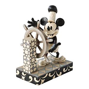 White Mickey Mouse Steamboat Willie Figurine 7-Inch: Home & Kitchen