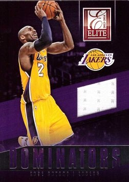 2013-14 Panini Elite Dominators Relics #13 Kobe Bryant Game Worn Jersey Basketball Card - White Jersey Swatch