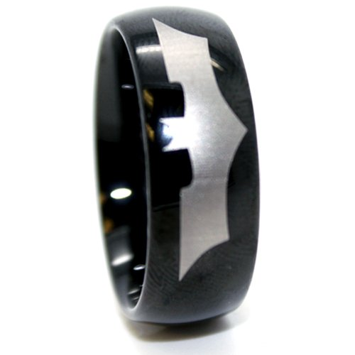 Blue Chip Unlimited - Unisex 9mm Black Tungsten Ring w/ Batman Design Wedding Band Designer Fashion Engagement Ring Size R 1/2