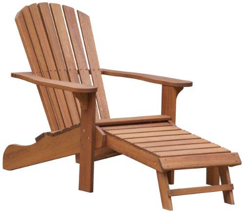Outdoor interiors cd3111 eucalyptus adirondack chair and built in ottoman for Outdoor interiors eucalyptus rocking chair