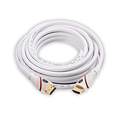 HDMI Cable 2.0 with Built-in Signal Booster CL3 Rated - 24AWG - 2.0 HDMI Cable 4K Ultra-High Speed Supports Ethernet Audio Return ( ARC ) 4K Ultra HD 2160p / Bandwidth up to 18Gbps / 3D HD 2 X 1080p Ready - HDMI Cord White PVC Class 3 in wall Rated with G