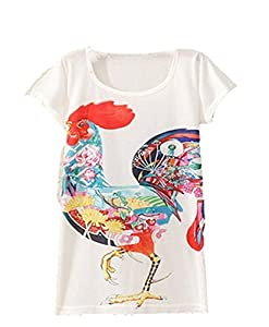 Zeagoo Women Summer Digital/Animal/floral Print Loose Casual T-shirt Dress Top