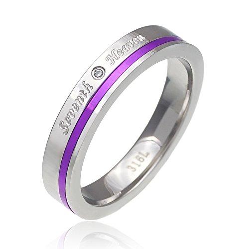 ステンレスリング 指輪 メンズ レディース アルミニウム シンプル パープル sr0142