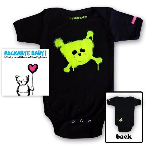 Rockabye Baby! Lullaby Renditions of Foo Fighters + Rockabye Baby 100% Organic Cotton Onesie (Green)