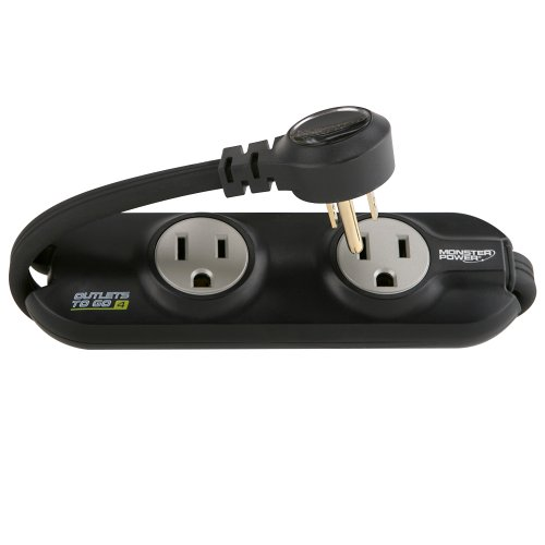 Monster MP OTG400 BK Outlets To Go Power Strip, 4 AC Outlets (Black)
