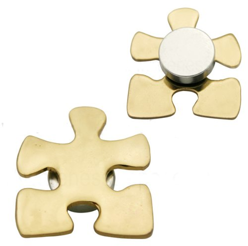 Gold Puzzle Magnetic Back Pin Fundraiser 10 Pack