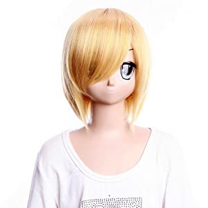 SureWells Cosplay wig HUNTERxHUNTER KURAPIKA light orange wig cool style half wig lacefront wig