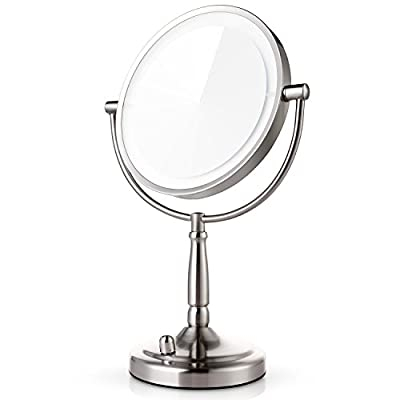 Miusco 7X Magnification Two Sided Adjustable Warm LED Lighted Makeup Mirror, 8 inch