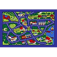 Kids Area Rug - Street Map Blue Design