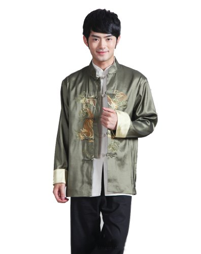 JTC Men's Chinese Top Kong Fu Tai Chi Sport Coat Dragon Embroidery Costume Green