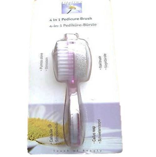 4in1 PEDICURE *NAIL BRUSH*PUMICE STONE*CALLUS RASP*FILE
