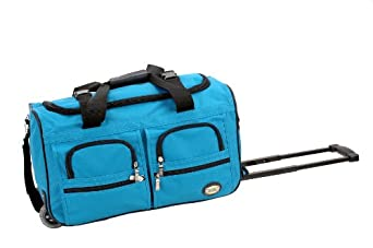 Rockland Luggage 22 inch Rolling Duffle Bag, Turquoise, Medium