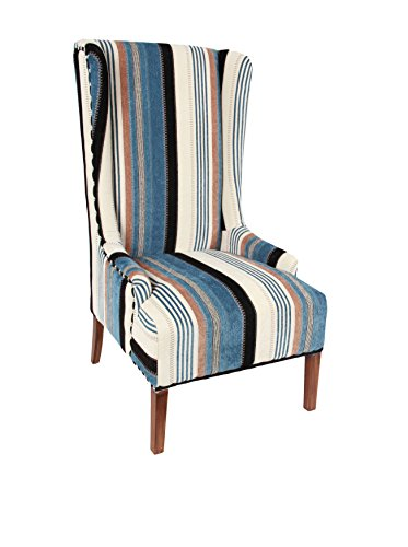 Evergreen Striped Wing Chair, Blue/Cream/White/Black
