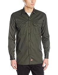 Dickies Men's Long Sleeve Work Shirt, Olive Green, Medium
