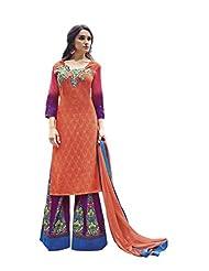 Orange Colour Faux Cotton Party Wear Paisley Print & Patch Embroidery Plazo Suit (Jinaam) 9076B