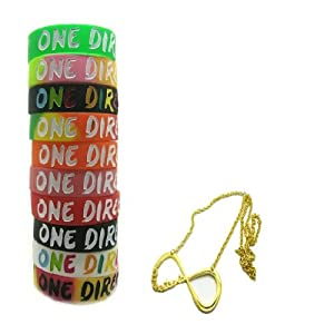 One Direction 10pcs Bracelet Wristband with 1 Pcs Golden Infinity Directioner Necklace from Molie