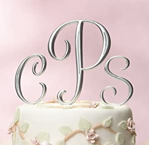 Silver Monogram Wedding Cake Topper Initials - Set of 3