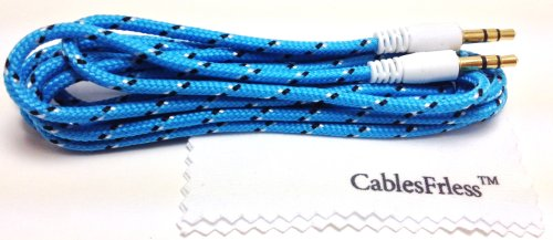 Cablesfrless (Tm) 3.5Mm Auxiliary (Aux) Audio Jack Cable (Braided Style) (6Ft Blue)