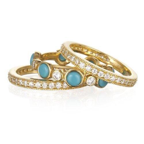 Turquoise 3 Eternity Band Ring Set