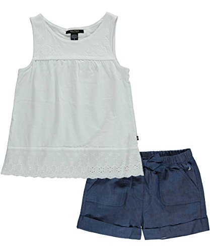 Nautica Girls' Eyelet Trim Knit Top with Chambray Short, Sail White, 8