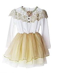 TheTickleToe Kids Baby Girl White Cream Gold Tulle Net Fairy Birthday Party Dress Princess Shimmer 5-6 Years