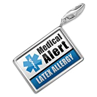 "NEONBLOND Charms Medical Alert Blue ""Latex Allergy"" - Bracelet Clip On from NEONBLOND Jewelry & Accessories"