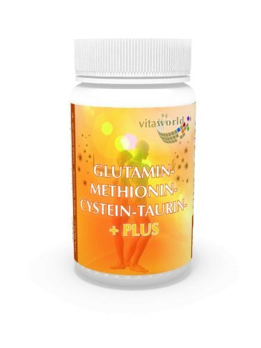 3 Pack Glutamine 5000Mg + Methionine Cysteine Taurine 180 Capsules Vita World German Pharmacy Production