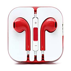 New 3.5mm Fashion Red Earpod Stereo Headet Wired Handsfree Earphones + Mic For Blackberry Pearl 3G 9100 9105 / Pearl 8110 8130 / Pearl Flip 8220 8130 / Playbook 2012 / Q10 Q5