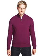 XS Blue Harbour Luxury Wool Rich Half Zip Jumper with Cashmere