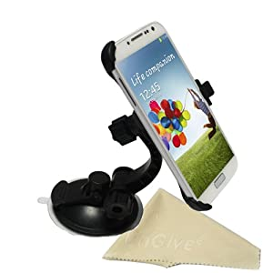 EnGive Samsung Galaxy S4 Windshield Dashboard Car Holder Mount + Cleaning Cloth