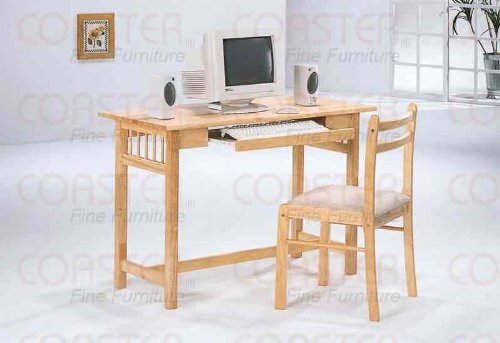 Picture of Comfortable 2 Piece Computer Desk Set in Natural Finish by Coaster - 4404 (B004BHT5WM) (Computer Desks)