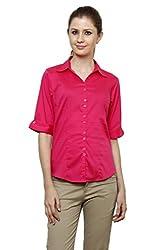 Zx3 Women's Strech Formal & Casual Shirt(Shirt_1026_M_Dark Pink)