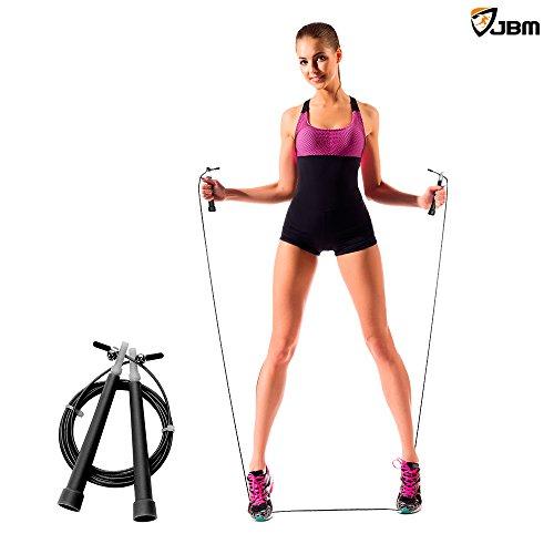 JBM Springseil (4 Farben) - Anpassungsfähiges Sprungseil für Doppeldurchschläge Cardio Crossfit MMA Fitness - Bestes Sprungseil fürs Herz, hohe Seilgeschwindigkeit für Frauen, Männer aller Fähigkeitslevel Springseil für Kinder