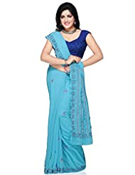 Utsav Fashion Women's Light Aqua Blue Viscose Georgette Saree With Blouse