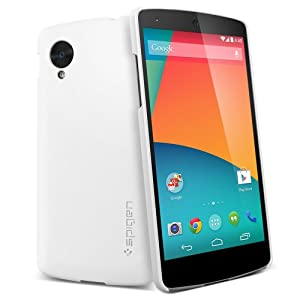 [+Screen Protector] [NEXUS 5 TEXTURE] Spigen Google Nexus 5 Case Slim [Ultra Fit] Premium *Japanese* Screen Protector Included + Premium Matte Hard Case for Nexus 5 - ECO-Friendly Packaging - Smooth White (SGP10561)