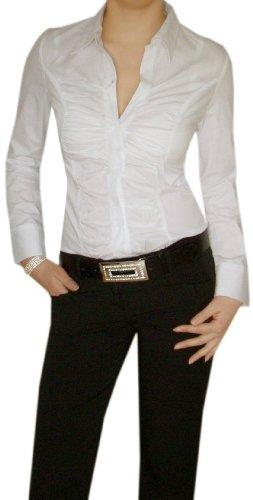 S&Charm- Bodybluse/Baumwolle Blusenbody in Weiß Gr.L