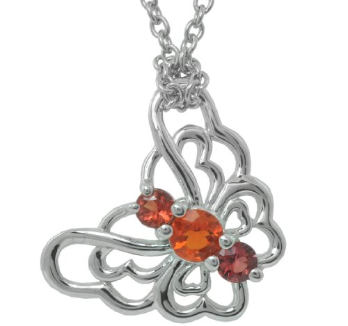 Sterling Silver Fire Opal and Orange Sapphire Butterfly Pendant Necklace