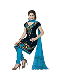 PShopee Black & Blue Jacquard Cotton Embroidery Unstitched Dress Material