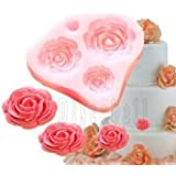 4 Size Rose Flower Silicone Mould Cake Topper Decoration Fondant Fimo Sugarcraft