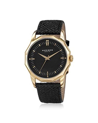 Akribos XXIV Men's AK825YGB Gold-Tone/Black Leather Watch