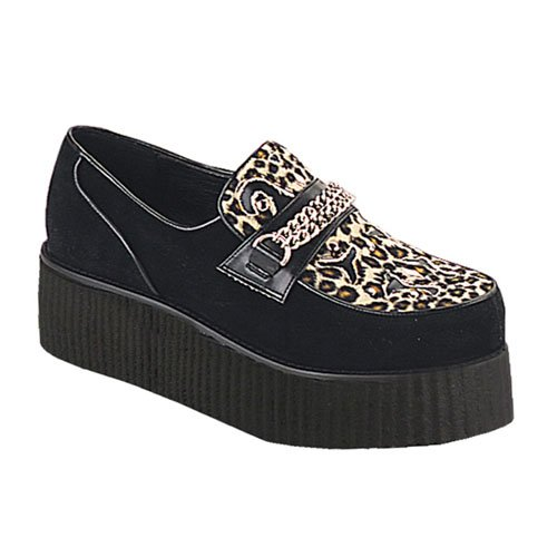 2 Inch Platform Wedge VEGAN Shoe Leopard Print MENS SIZING Chained Creeper Shoe