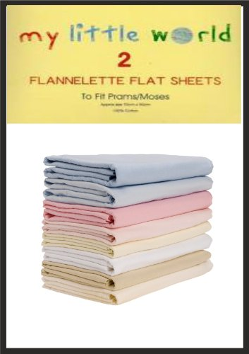 Pram / Moses Basket Cream Flannelette Flat Sheets Baby Nursery Bedding Soft Touch Pack of 2 100% Cotton