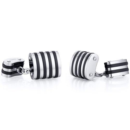 Revoni Unique Black Stripe Polished Titanium Chain Style Mens Cufflinks