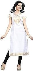 Twinkal Women's White Chanderi Kurti / Kurta (TWKR00044-47 _ Small)