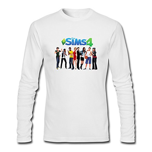 The Sims 4 Character Fun 100% Cotton White Long Sleeve Tee Shirt For Guys Size L (The Sims 4 Merchandise compare prices)
