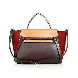 Kattee Designer Contrast Color Leather Satchel Handbag