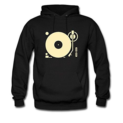 Spreadshirt Men'S Headphones Record Disc Platter... Hoodie, Black, S