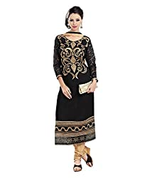 Monalisa Fabrics Women's Unstitched Dress Material (216911010_Black _Free Size)